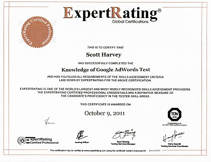ExpertRating.com AdWords certification