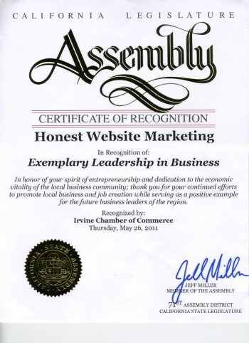 Certificate of Recognition from Assemblyman Miller - Honest Website Marketing