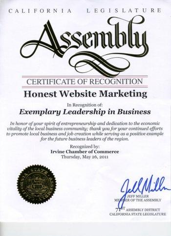 Certificate of Recognition from Assemblyman Miller - Honest Website Marketing