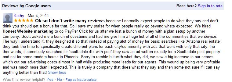 Google Places Honest Website Marketing Review