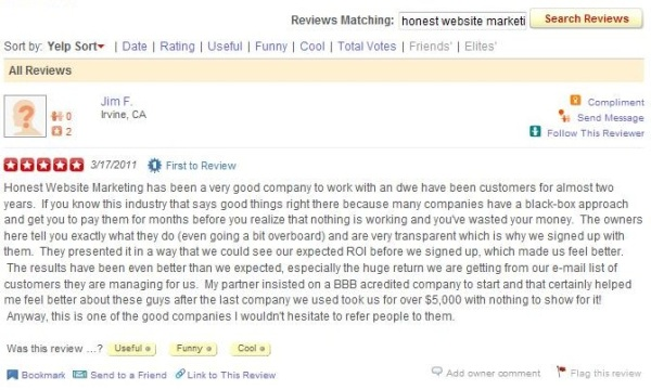 Yelp Review of Honest Website Marketing